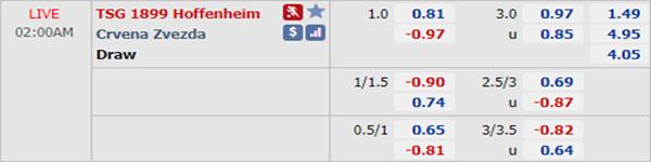 Kèo bóng đá giữa Hoffenheim vs Crvena Zvezda