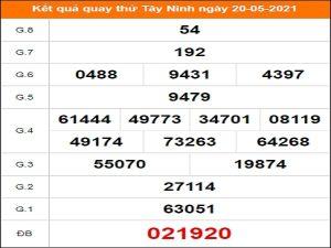 Quay thử kết quả xổ số tỉnh Tây Ninh 20/5/2021