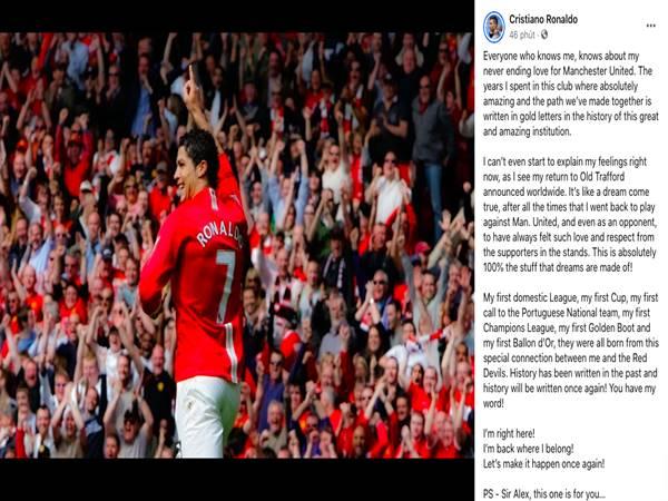 Tin thể thao 1/9: Ronaldo chia sẻ sau khi trở thành người của MU
